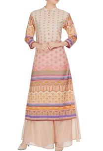 multicolored-printed-chanderi-kurta-with-palazzos
