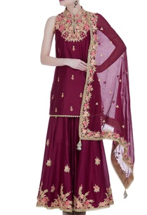 maroon-raw-silk-embroidered-kurta-set