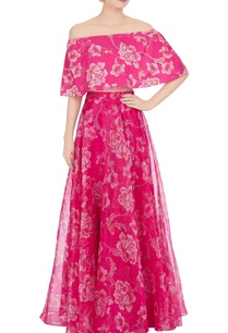 pink-crepe-organza-floral-printed-lehenga-with-cape-bustier