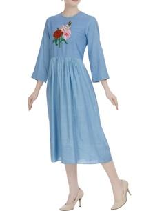 blue-khadi-floral-embroidered-midi-dress