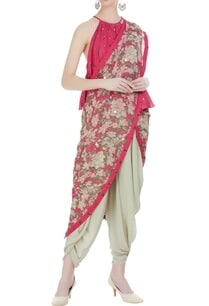 cowl-dhoti-sari-with-halter-blouse