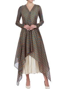 hand-woven-chanderi-silk-stripe-tunic-with-inner