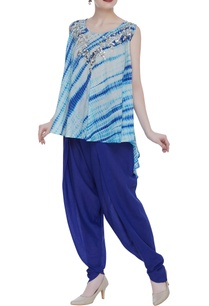 shaded-short-kurta-with-draped-pants