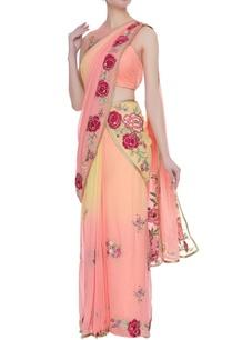 peach-georgette-pre-draped-sari-with-rose-work-blouse
