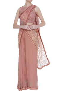nude-georgette-pre-draped-sari-with-lace-blouse