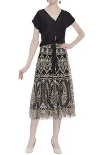 bow-detail-blouse-with-embroidered-midi-skirt