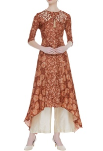 tussar-embroidered-kurta-with-palazzos