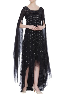 net-layered-embroidered-dress-with-cape-sleeves