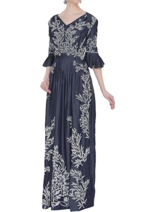 pleated-maxi-dress-with-applique-work
