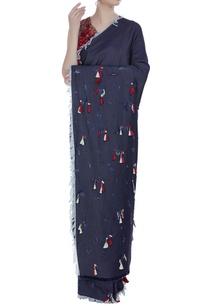 denim-tassel-border-sari-with-embroidered-blouse
