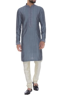 spun-silk-textured-kurta-with-churidar