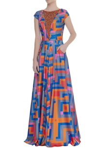 embroidered-yoke-printed-gown