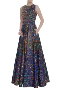 abstract-print-sleeveless-gown