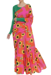 sunflower-printed-sari-with-blouse