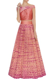 embroidered-off-shouldered-blouse-with-lehenga