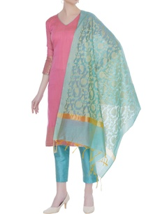 chanderi-cotton-woven-zari-kurta-set