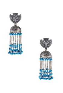long-jhumka-earrings-with-dangling-chains