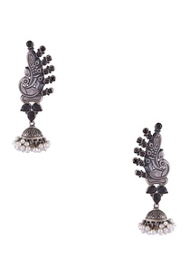 peacock-motif-earrings-with-dangling-pearl-jhumkas