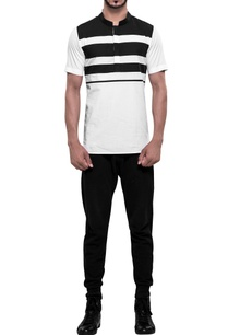 stripe-panel-roman-collar-t-shirt