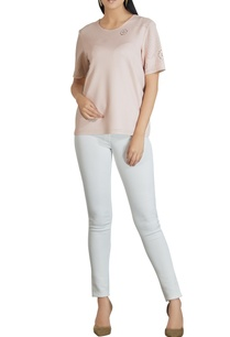 neoprene-cutout-short-sleeve-blouse