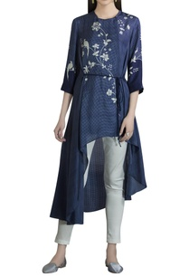 pure-silk-asymmetric-tunic-with-tie-up-accents