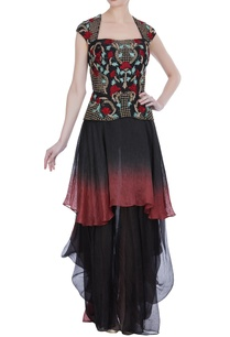 embroidered-peplum-top-with-layered-skirt