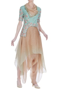 embroidered-collar-jacket-with-draped-skirt