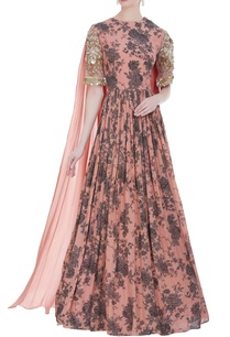 floral-printed-gown-with-draped-dupatta