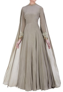 floor-length-gown-with-drape-dupatta