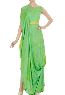 cowl-pleated-dress-with-fitted-waistband