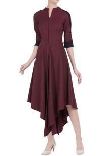 asymmetrical-hem-dress-with-shirt-sleeves