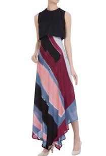 asymmetrical-hem-dress-with-crop-top