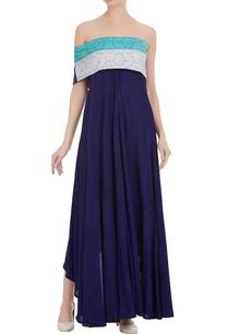 one-sided-sleeve-dress-with-high-low-hemline