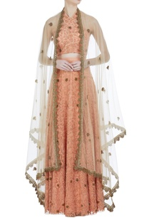 halter-blouse-with-embroidered-lehenga-and-cape