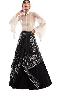 mesh-yoke-flared-sleeves-blouse-with-draped-lehenga-skirt