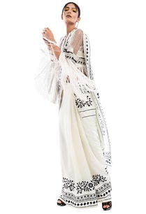 printed-sari-with-mesh-cape-bustier