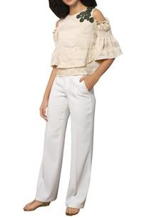 linen-cold-shoulder-blouse