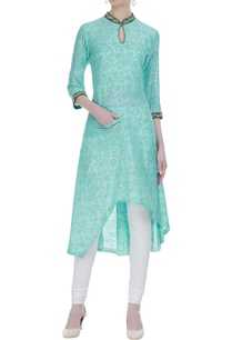 print-textured-kurta-set