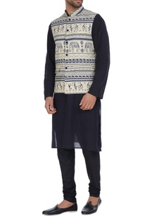 crepe-bandi-jacket-with-warli-print