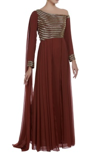 one-shoulder-cape-style-gown