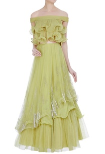 off-shoulder-ruffle-blouse-with-double-layer-lehenga