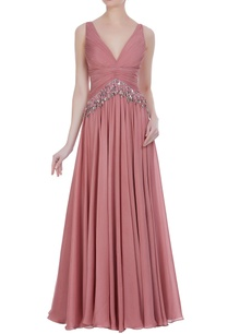 sequin-tassel-pleated-gown
