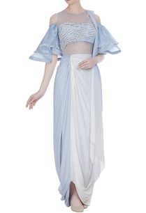 crepe-silk-sari-gown-with-attached-organza-ruffle-blouse