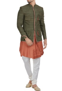 muga-silk-jodhpuri-jacket-with-kurta-churidar