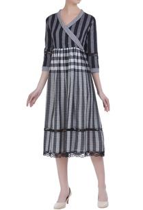 check-patterned-bead-angrakha-dress