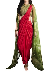 embroidered-crop-top-with-draped-saree-and-cape-top