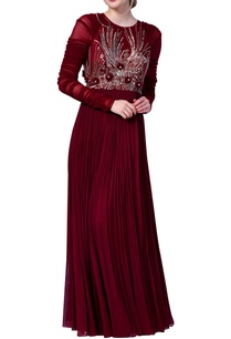 embroidered-dress-with-flared-pleated-style