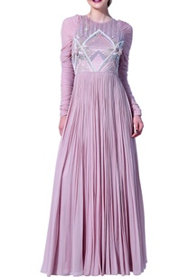 embroidered-flared-long-dress-with-churidar-sleeves