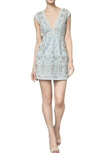 net-hand-embroidered-deep-v-neckline-cocktail-dress