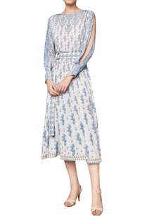 floral-printed-cut-out-sleeved-midi-dress